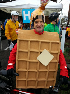 Waffle Man admitted that he wasn't the most aerodynamically shaped.